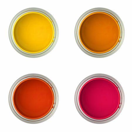 Dosen mit Farben gelb, orange, rot und rosa ue paint (vereinzelt in Wei�, Draufsicht)