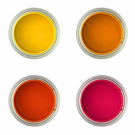 paintbucket: paint cans with yellow, orange, red and pink ue paint (isolated on white, top view) Stock Photo