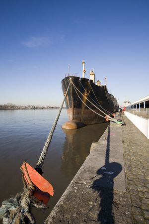 quayside: ship along the quayside (Antwerp, Belgium)