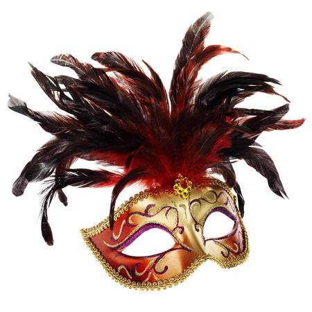 Máscara veneciano (rojo y oro aislados en blanco) Foto de archivo