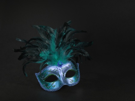 black mask: Venice mask, bue, green