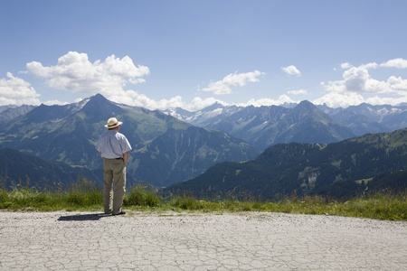 tranquille: older man overlooking the valley (Austria, Europe) Stock Photo