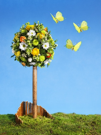 easter spring  flower arrangement with  colorful butterflies, blue sky, copy space