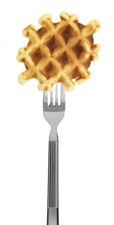 waffle on a fork, isolated on white