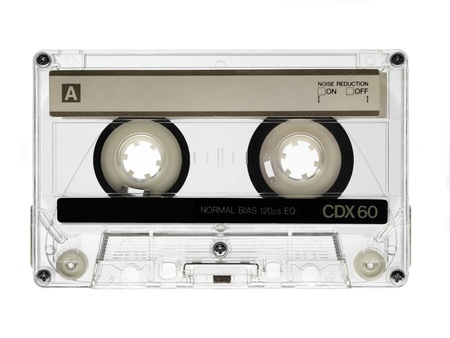 tape recorder: vintage audio cassette isolated on white