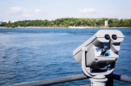 Binocular in the old port of Montreal Banco de Imagens