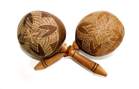 Pair of maracas isolated on white background