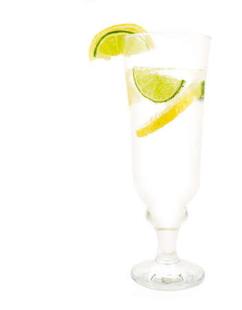 picknick: Beverage with lemon and lime isolated on white background