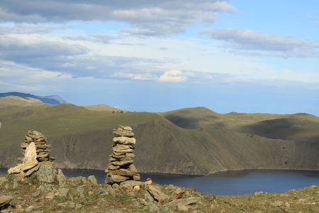 view from top of the mountain on the lake Baikal. Conglomeration of stones  photo