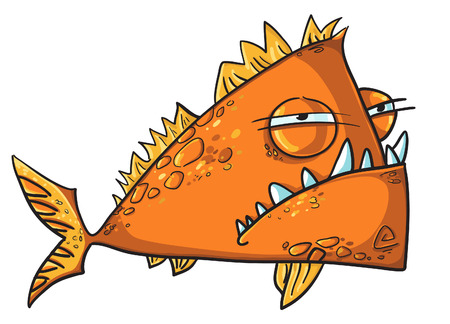 Big angry fish cartoon Vector