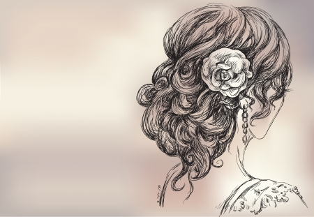 hair curl: Vector drawing of a beautiful girl, bridal hairstyle Illustration