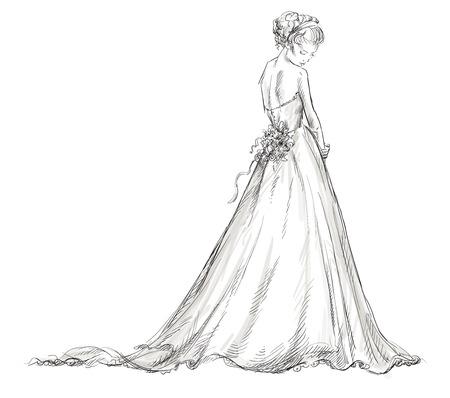 웨딩 드레스의 신부 아름 다운 젊은 여자는 10 벡터 일러스트 레이 션, EPS