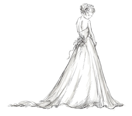 Bride  Beautiful young girl in a wedding dress  EPS 10 vector illustration  Vector