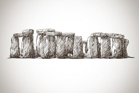 vector illustratie van stonehenge tegen witte achtergrond Stock Illustratie