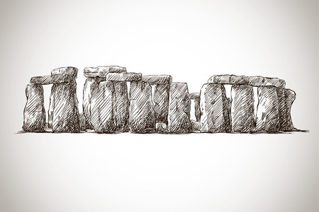 vector illustration of stonehenge against white background Çizim