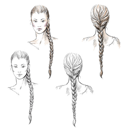 long black hair: Girl with a braid, hand-drawn