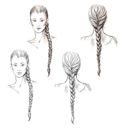 cabello largo y hermoso: La joven de la trenza, dibujado a mano
