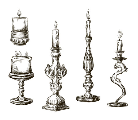Dibujado a mano velas candeleros Retro