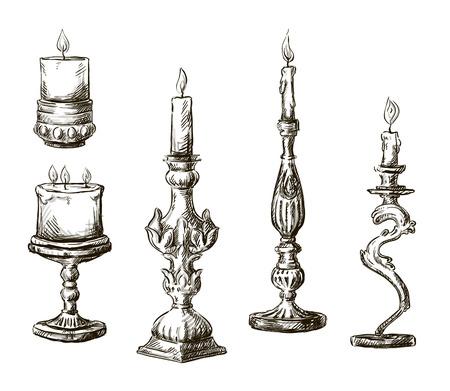 Hand getrokken kaarsen Retro kandelaars Stock Illustratie
