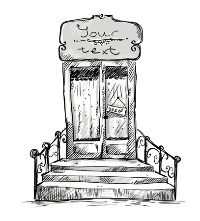 shopwindow: Entrance door, shop-window drawing