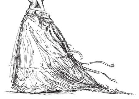 ブライダル ドレスの描画  イラスト・ベクター素材