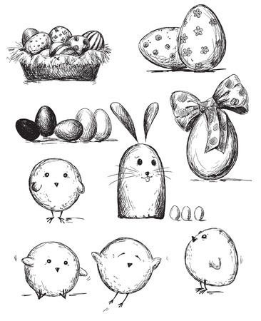 chicken and egg: Selection of Easter drawings Illustration