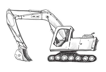Doodle excavator drawing Vector