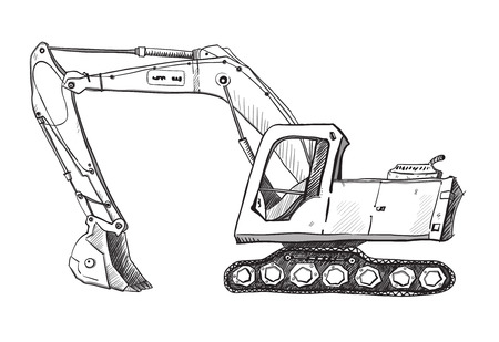 earth mover: Doodle excavator drawing Illustration