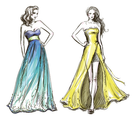 Fashion Illustration Langes Kleid Laufsteg Standard-Bild - 24352508