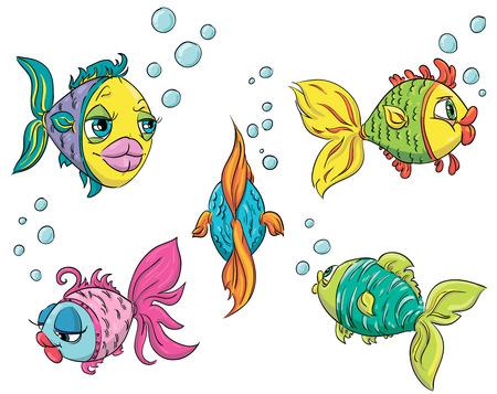 Set von lustigen Fisch Illustration Standard-Bild - 24355660