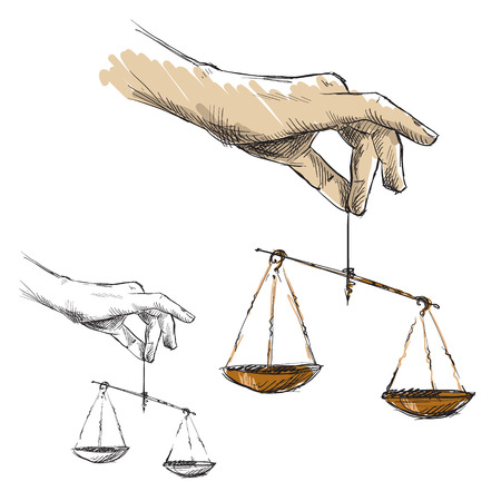 commercial activity: Hands holding scales Illustration