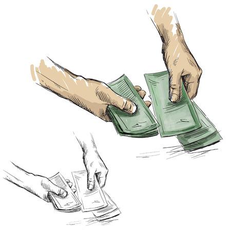 cash money: Hands counting cash money Illustration