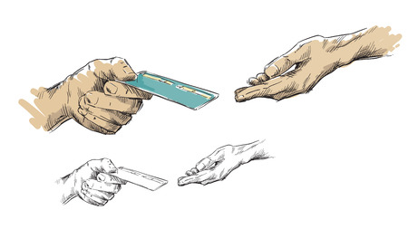 passing: Hands passing credit card