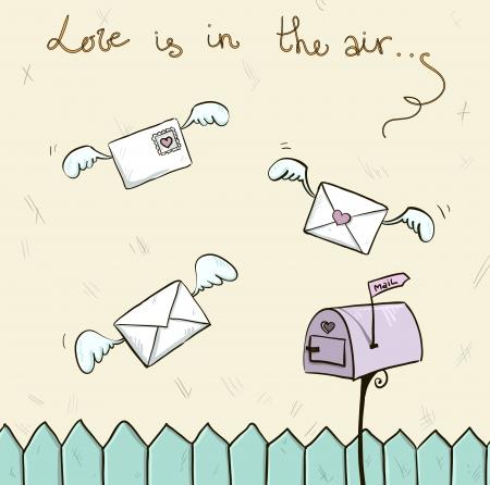 st valentine: el amor est� en el aire con alas cartas, mensaje del buz�n de San Valent�n s Vectores
