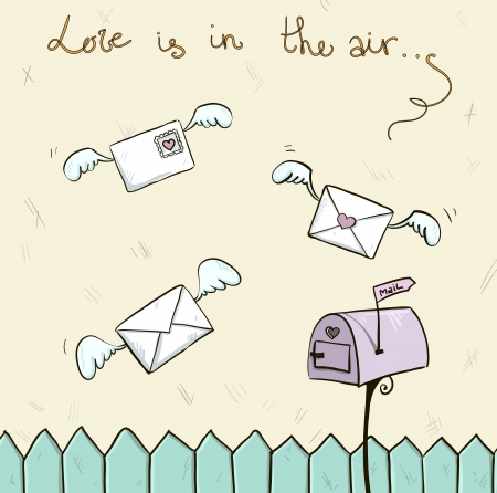 hands in the air: love is in the air  Winged letters, mailbox  St  Valentine s post  Illustration