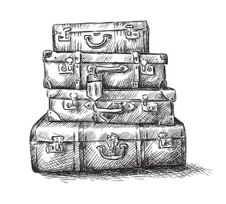 dibujos lineales: Dibujo boceto de bolsas de equipaje