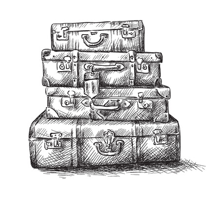 suitcases: Sketch drawing of luggage bags