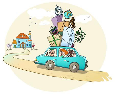 car transportation: Moverse en una nueva casa de la familia feliz est� en el camino a una nueva casa Vectores
