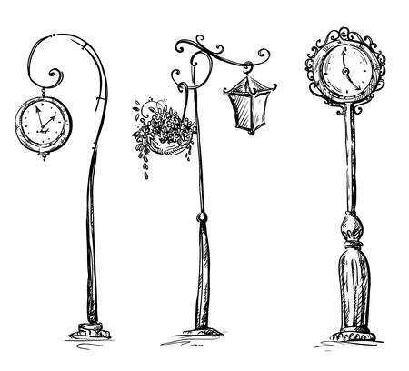 거리 시계 및 램프 게시물 일러스트