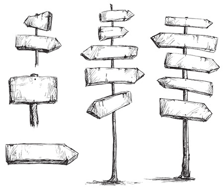 wooden sign: arrow signs drawing