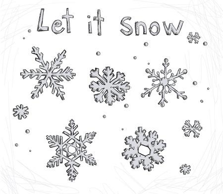 let it snow: Set of doodle snowflakes