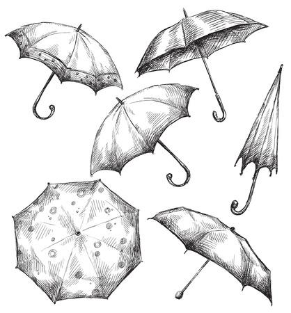 sketch sketches: Set of umbrella drawings, hand-drawn