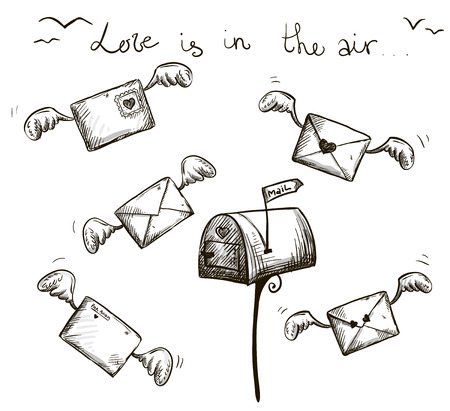 cartoon envelope: love is in the air  Winged letters, mailbox  St  Valentine s post  Illustration