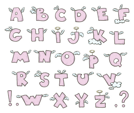 s alphabet: Winged Cute flying letters Illustration