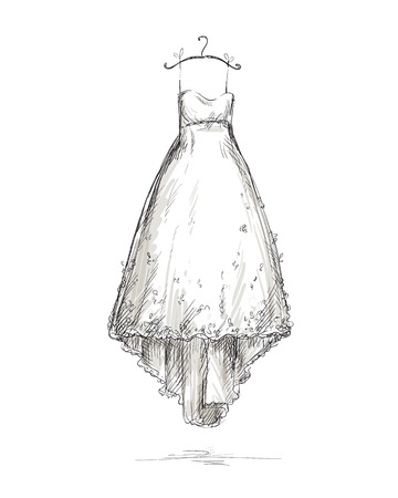 dress sketch: Wedding dress on a hanger Illustration