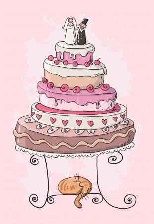 boda pastel: torta de la boda de la historieta