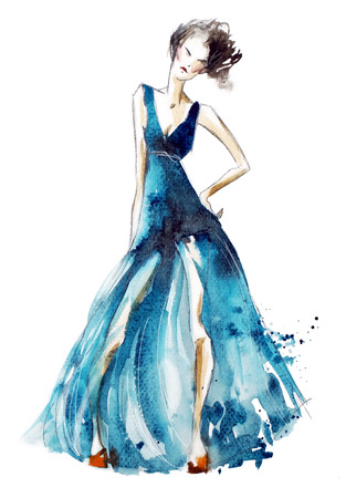 Blue dress fashion illustration