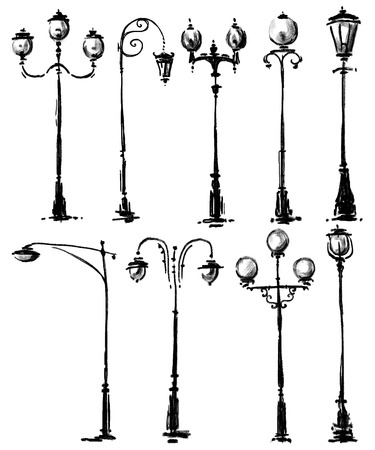 lamp silhouette: Lamp post collection Stock Photo