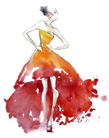 Red dress fashion illustration                 Banco de Imagens