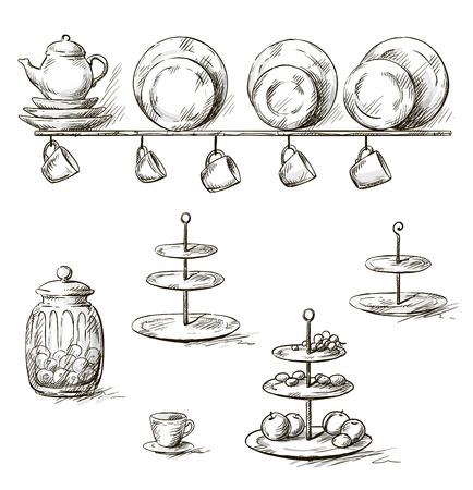 old kitchen: Hand drawn illustration of kitchen utensils